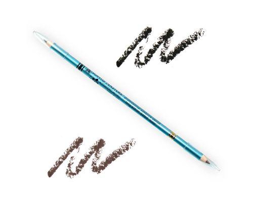Двусторонний тонкий карандаш для бровей №01 Черный-Коричневый от Art Soffio